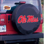 Ole Miss Tire Cover with Rebels Logo on Black Vinyl