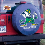 Notre Dame Tire Cover with Fighting Irish Leprechaun on Blue