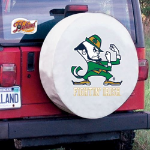 Notre Dame Tire Cover with Fighting Irish Leprechaun on White