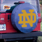 Notre Dame Tire Cover with Fighting Irish ND on Blue
