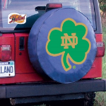 Notre Dame Tire Cover with Fighting Irish Shamrock on Blue