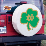 Notre Dame Tire Cover with Fighting Irish Shamrock on White