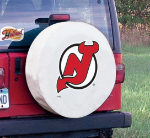 New Jersey Tire Cover with Devils Logo on White Vinyl