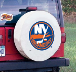 New York Tire Cover with Islanders Logo on White Vinyl