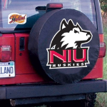 Northern Illinois Tire Cover with Huskies Logo on Black Vinyl