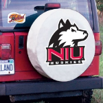 Northern Illinois Tire Cover with Huskies Logo on White Vinyl