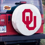 Oklahoma Tire Cover with Sooners Logo on White Vinyl
