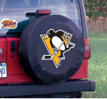 Pittsburgh Tire Cover with Penguins Logo on Black Vinyl