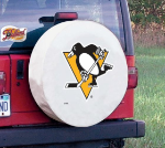 Pittsburgh Tire Cover with Penguins Logo on White Vinyl