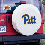 Pittsburgh Tire Cover with Panthers Logo on White Vinyl