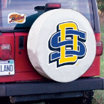 South Dakota State Tire Cover with Jackrabbits Logo on White