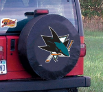 San Jose Tire Cover with Sharks Logo on Black Vinyl