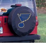 St Louis Tire Cover with Blues Logo on Black Vinyl
