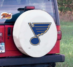 St Louis Tire Cover with Blues Logo on White Vinyl