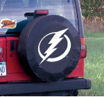 Tampa Bay Tire Cover with Lightning Logo on Black Vinyl