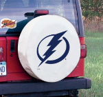 Tampa Bay Tire Cover with Lightning Logo on White Vinyl