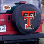 Texas Tech Tire Cover with Red Raiders Logo on Black Vinyl