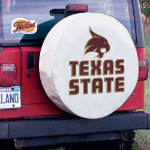 Texas State Tire Cover with Bobcats Logo on White Vinyl