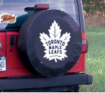 Toronto Tire Cover with Maple Leafs Logo on Black Vinyl