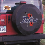 Tulsa Tire Cover with Golden Hurricanes Logo on Black Vinyl
