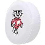 Wisconsin Tire Cover with Badgers Logo on White Vinyl