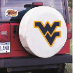 West Virginia Tire Cover with Mountaineers Logo on White Vinyl