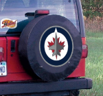 Winnipeg Tire Cover with Jets Logo on Black Vinyl