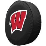 Wisconsin Tire Cover with Badgers Script 'W' Logo on Black
