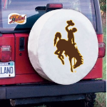Wyoming Tire Cover with Cowboys Logo on White Vinyl