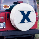 Xavier Tire Cover with Musketeers Logo on White Vinyl