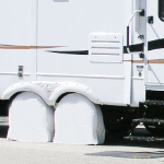 White RV Tire Shade