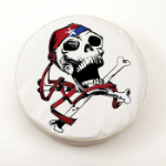 USA Jolly Roger Tire Cover on White Vinyl