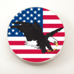 USA Eagle Jeep Tire Cover on White Vinyl