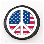 USA Peace Sign Tire Cover on White Logo on Black Vinyl