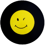 Winking Smiley Face Tire Cover on Black Vinyl