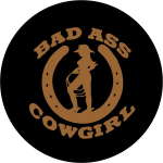 Bad Ass Cowgirl Tire Cover on Black Vinyl