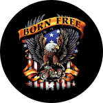Born Free Eagle Tire Cover on Black Vinyl