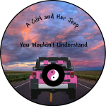 A Girl and Her Jeep Tire Cover on Black Vinyl