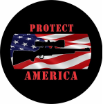 Protect America Tire Cover on Black Vinyl