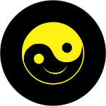 Smiling Yin Yang Tire Cover Yellow Logo on Black Vinyl
