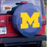 Michigan Tire Cover with Wolverines Logo on Blue Vinyl