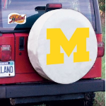 Michigan Wolverines Tire Cover on White Vinyl