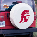 USC Tire Cover with Trojans Logo on White Vinyl