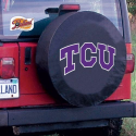 Texas Christian Tire Cover with Horned Frogs Logo on Black