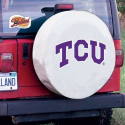 Texas Christian Tire Cover with Horned Frogs Logo on White