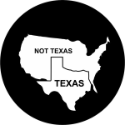 Texas - Not Texas Spare Tire Cover on Black Vinyl