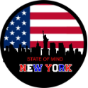 New York State of Mind Spare Tire Cover on Black Vinyl