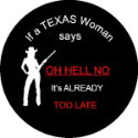 Texas Woman Spare Tire Cover on Black Vinyl