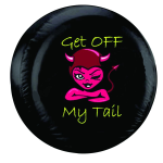 Get Off My Tail Tire Cover on Black Vinyl