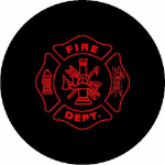 Fire Department Tire Cover on Black Vinyl